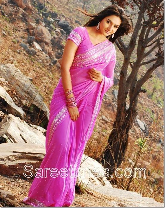 Ragini_Dwivedi_Pink_Designer_Saree