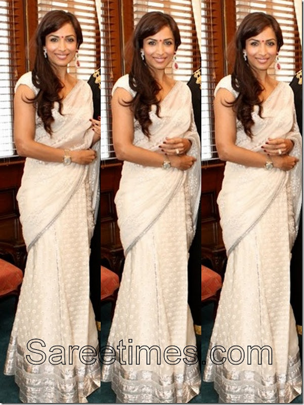 Maliaka_Arora_White_Saree