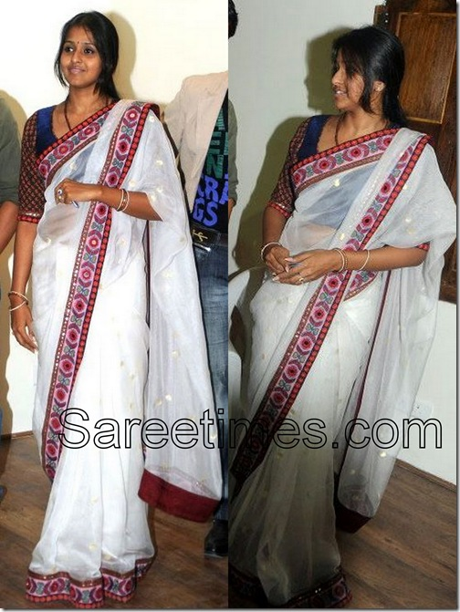 Smitha_White_Saree