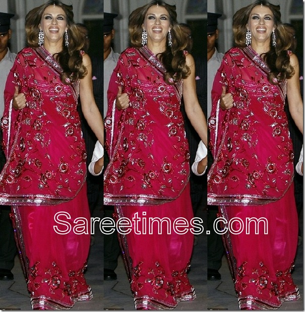 Liz_Hurley_Red_Saree
