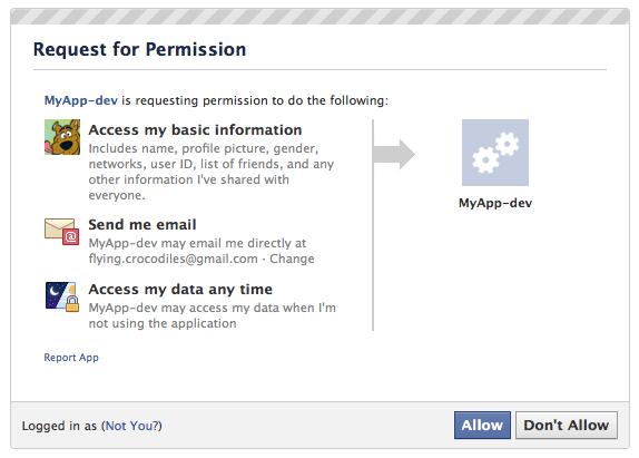 Facebook Request for Permission