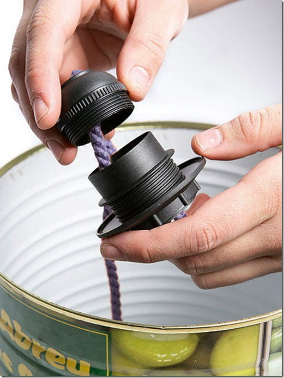 Lampes suspendues de bo tes de conserve - Lampe avec boite de conserve ...