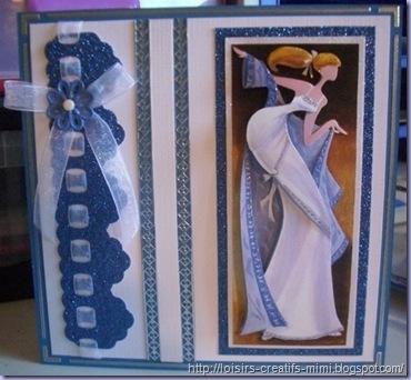 Carte 3D Dame bleu-blanc