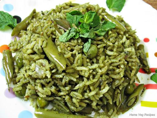 Mint Pulav or Pudina Rice