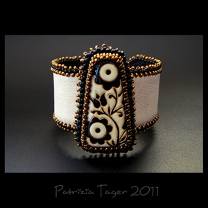 Black and Bonze Flowers - Ivory Leather Cuff 01 copy