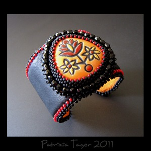 Orange & Red  Flowers - Black Leather Cuff 03 copy