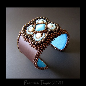 Bronze & Turquoise Flower - Brown Leather Cuff 03 copy
