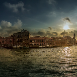 Sunset over Murano by Andrei Grososiu - Landscapes Sunsets & Sunrises ( water, sky, sunset, sea, murano, italy, sun )