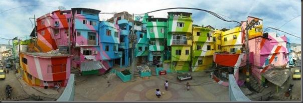 Pinturas coloridas na Favela de Santa Marta no RJ (1)
