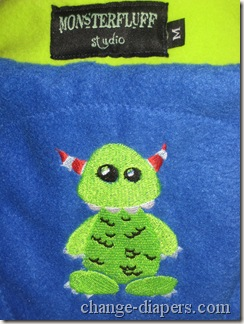 monster fluff fleece soaker embroidery