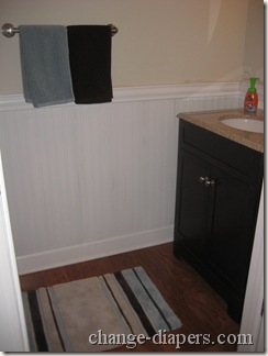 half bath remodel with beaded wainscot