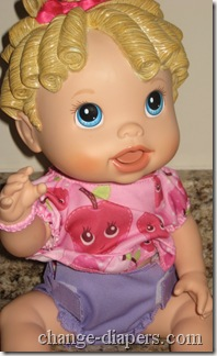 Rumparooz doll diaper on baby alive