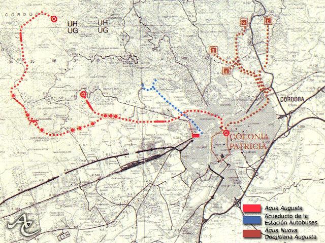 Plano acueductos de Córdoba
