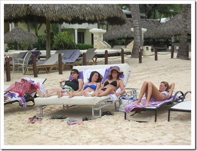 us girls relaxn on beach bed