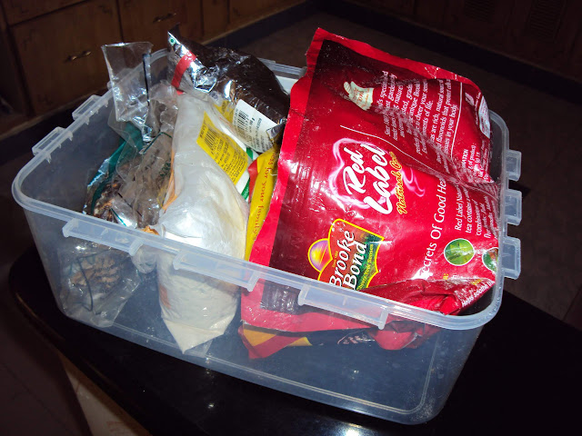 Half-filled Grocery Bags in an Air Tight Container