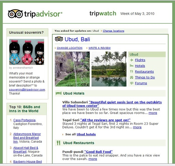 Tripadvisor newsletter with lots of information about Bali holidays and tropical Blai hotel