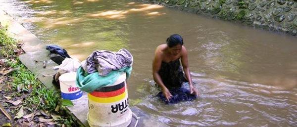 Laundry in the river near Ubud, Bali