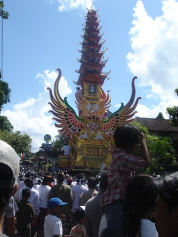 View of a royal cremation in Ubud Bali