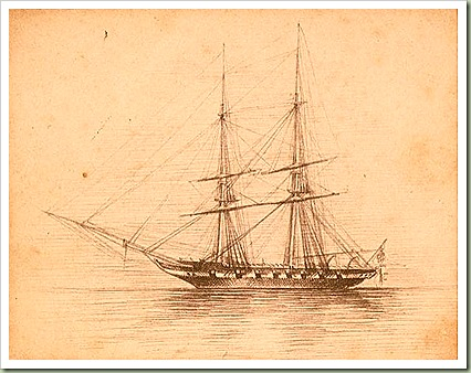 Schooner on calm waters - 1850s (ATL collection)