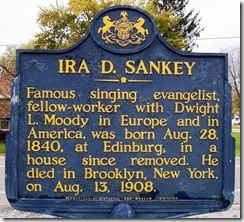 Ira D. Sankey marker in Edinburg, PA (Click to Enlarge)