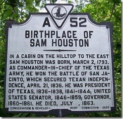 Birthplace of Sam Houston Marker A-52 (Click to Enlarge)