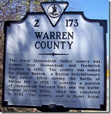 Warren County VA Marker Z-173 (Click any photo to Enlarge)