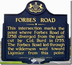 Forbes Road marker in Bedford Co. (Click to Enlarge)