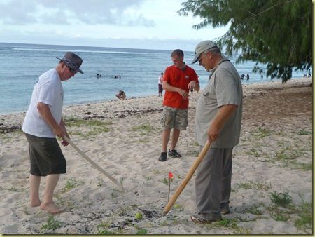 Beach golf w/pandana sticks & tennis balls--Elder Hawley & Elder Thompson & Asst. to President Elder Lyon