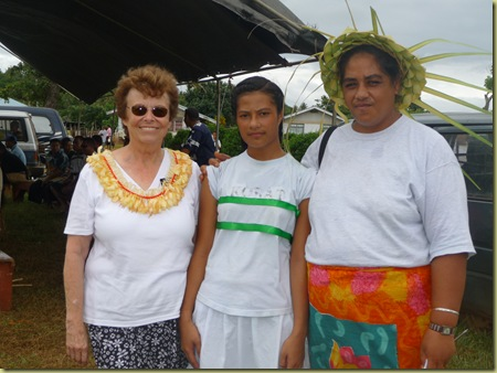 Sister Hawley, student winner of a race, and Amelia Na'apa a middle school teacher in Eua