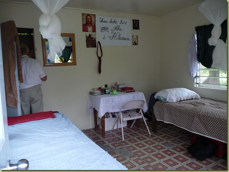 Inside missionary house:  one room plus small bathroom for toilet and shower