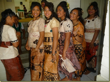 Home-ec girls wearing their tapa cloth designs