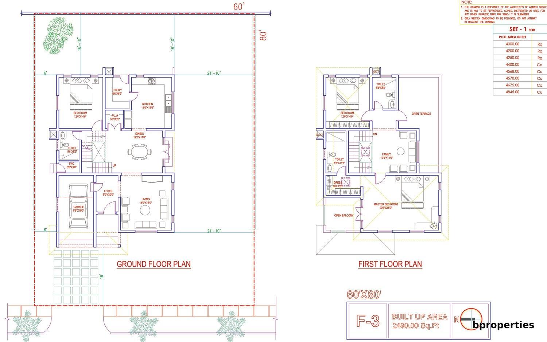 Adarsh palmretreat floorplan villa f3 site 60x80 builtarea 2490 sqft