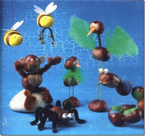 Diferentes animales creados con castañas