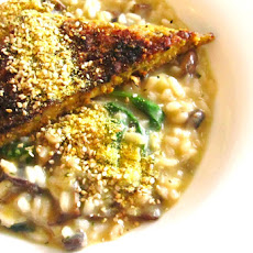 Mushroom and Leek Risotto With 'Parmesan' Tempeh [Vegan]