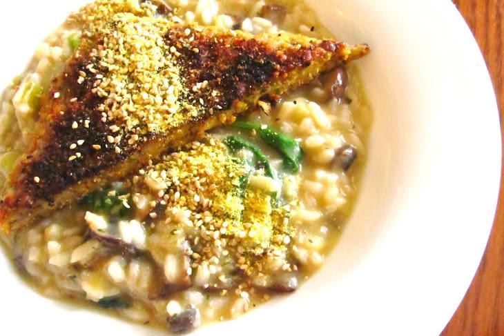 Mushroom and Leek Risotto With 'Parmesan' Tempeh [Vegan]