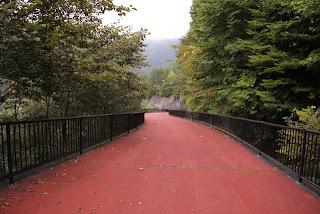 川俣ダムへのスロープ(下は管理道路でスノーシェッドになっている)