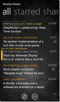 NextGen Reader for Windows Phone 7