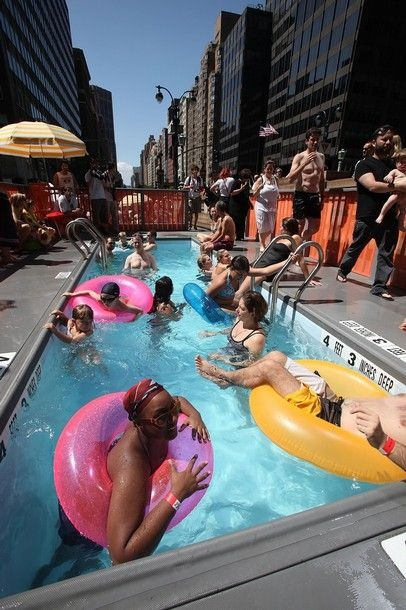 Garbage dumpster swimming pools on the streets of new york for Chicken in swimming pool
