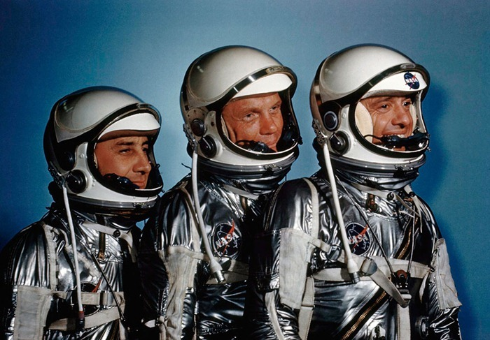 Astronauts Alan Shepard with John Glenn and Virgil I. Grissom