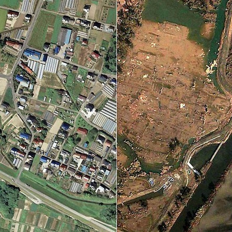 Before And After Satellite Photo's of Japan's Earthquake And Tsunami