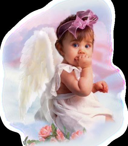 Foto de criança vestida de anjo menina bebe com as