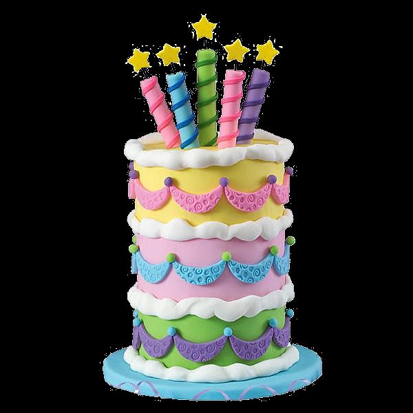 Bolo de aniversário com três andares colorido vela