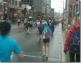 Runners on Yonge Street during the Goodlife Fitness Toronto Half Marathon