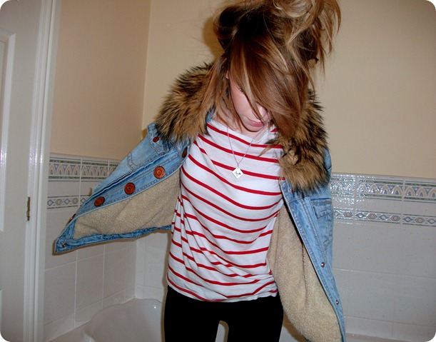 RIVER ISLAND denim faux fur jacket 3