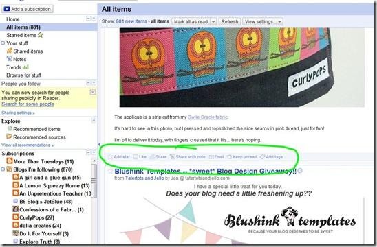 Google Reader share options