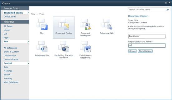 1 Create Site Document Center