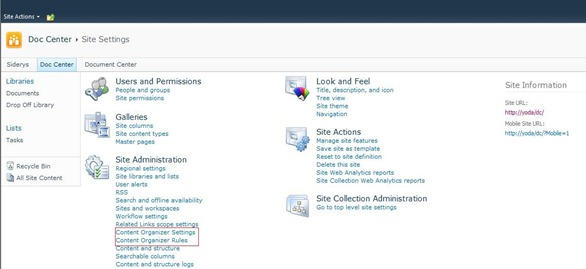 4 New Options Site Administration