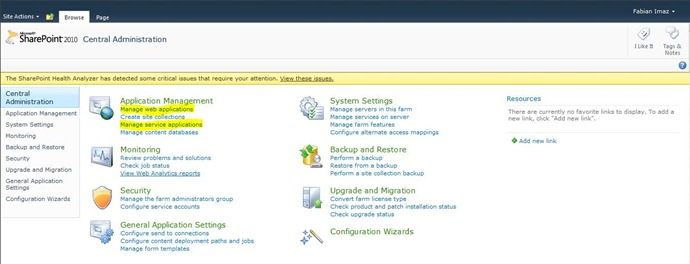 1 Central Administration SharePoint 2010