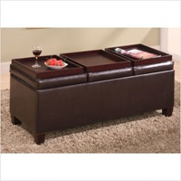 Haines Storage Ottoman with Three Trays in Brown