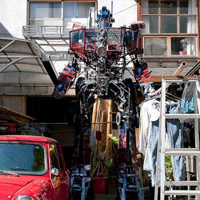 Optimus Prime replica made from recycled junk